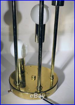 1 Vtg Table Lamp MID Century Modern 5 Light Brass Retro Clover Lamps Reggiani