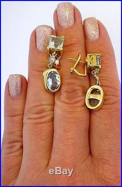14 & 18K Yellow Gold Diamond Aquamarine Aqua Vintage Mid-Century Retro Earrings