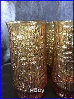 16 Vintage Mid Century 60s Libbey Artica Retro Amber Glass Drinking Glasses Set