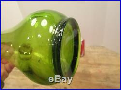 19.5 TALL Vintage LE SMITH Green Art Glass SWUNG VASE Mid Century Modern Retro