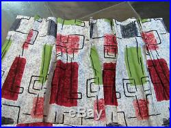 1950's Mid Century Atomic Ranch Vintage Barkcloth Era Fabric Drape Curtain Retro