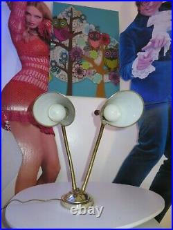 1950's Mid Century Modern Danish Table Lamp Adjustable Dual Lights