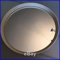 1960s 1970s Mid Century Round Wall Mirror Cream Plastic Vintage Retro 41cm