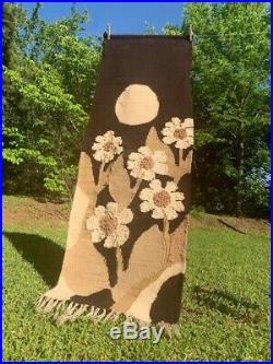 1960s Hand Woven Wall Hanging Tapestry Moonflowers Moon 5' LARGE Carol Owen MOD