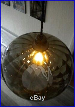 1960s PENDANT LIGHT in Smoked Green Glass Vintage, Late Mid Century, Retro