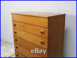 1970s mid century teak chest of drawers with lid compartment