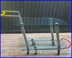 1981 Hilton Metal Glass Trolley Bar Cart Javier Mariscal Memphis Milano No. 34