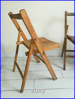 2 Folding Chairs Vintage Mid Century Wood Industrial Retro Old Prop Cafe Garden