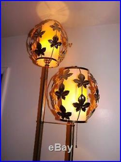 2 Light Stand Floor Lamp Mid Century Leaf Brass Retro Vintage Hollywood Regency