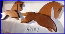 2 Mid Century Modern Abstract Wooden Horses Wall Hangings Retro Vintage