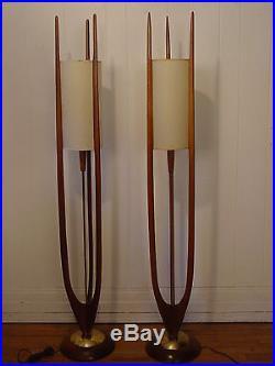Unique danish floor lamps composition home floor plans 2 vintage 1950s floor lamps brass wood danish modern modeline aloadofball Image collections