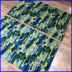 2 Vintage Geometric Retro Barkcloth Eames Era Mid Century Modern MCM Curtains