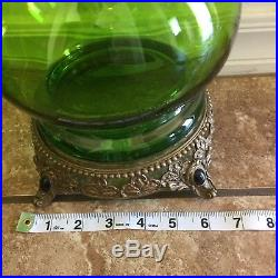 2 Vintage MID CENTURY Modern MCM RETRO 1960's 70's Green Glass Lamps Castilian