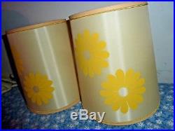 2 Vintage Mid Century Modern Retro Lamp Shade yellow flower power 9 tall