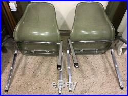 2-Vintage Pair of Howell Molded Plastic Chairs Retro Mid Century Eames Era GREEN