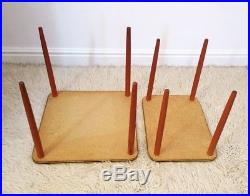 2 Vintage Retro 1950s Mid Century Teak Formica Side Tables, Occasional Tables