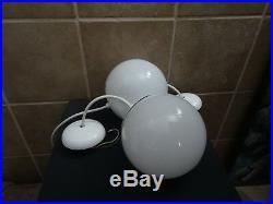 2 Vintage Retro Mid Century Atomic Prescolite Globe Pendant Ceiling Lights Lamp