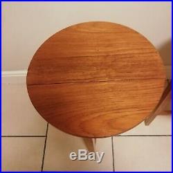 2 X Mid Century G PLAN FOLDING TABLES Circular TEAK Side / Plant Retro Vintage