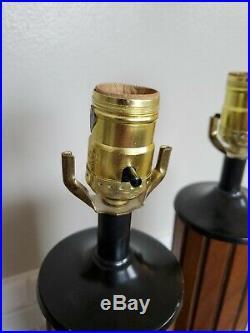 2 matching Mid Century Modern Table Lamp walnut Wood Black Steel Retro Vintage