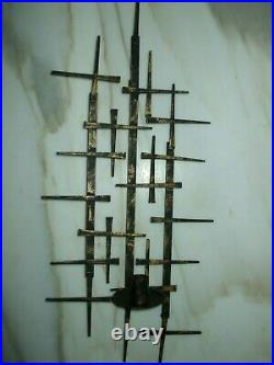 2 pc Vintage Mid Century Jere Style Brutalist Nail Metal Wall Art Candle Holders