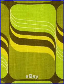 2 vintage fabric curtains drapes green retro Mid-Century OP Art Panton 70's
