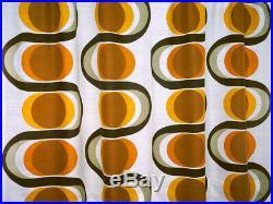 2 vintage fabric curtains drapes orange retro Mid-Century OP Art Panton 70's