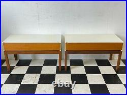 2x vintage mid century retro teak melamine bedside nightstand tables -Delivery