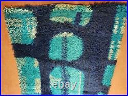3' 3 X 5' 2 Vintage Danish Rya Shag DeLuxe Ege Rug Mid-Century Modern Blue