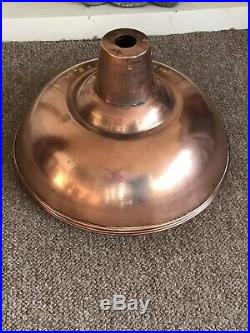 3 Reclaimed French Industrial Copper Lamp Light Shade Vintage Mid-Century