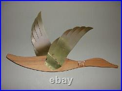 3 Vintage Masketeers Flying Geese Ducks Wall Art Mid Century Modern Wood Brass