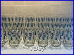 30 Vtg Mid Century Retro Green Blue Squares Drinking Glass Tumbler Bar Nordic