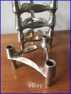 4 Vintage Dansk Design Candle Holder RETRO MID CENTURY art deco nagel style 4