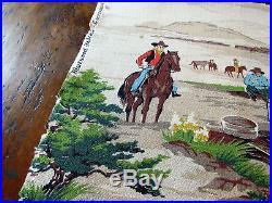 40's Cowboy Western Chuckwagon Scenes Vintage Barkcloth Fabric Mid Century Retro