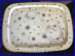 5 Vintage MCM Mid Century Snowflake Metal Dinner TV Trays with Stand Retro Design