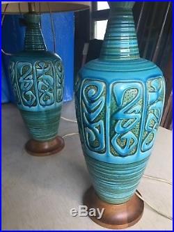 50s 60s Pair Vintage Mid-Century Modern Retro Table Lamps Turquoise blue green