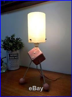 50s 60s original Atomic vintage retro Mid Century tripod Dice design table lamp