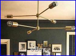 6 Arms Bulb New MID Century Modern Black Sputnik Brass Chandelier Light Fixture