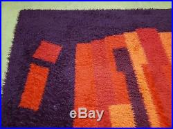 6' X 9' Vintage 1960s Rya Shag Ege Rug Mid-Century Modern Orange Red Purple Nice