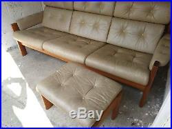 60-70s Retro Ekornes Fawn Real Leather Sofa Settee Vintage Teak Mid-Century