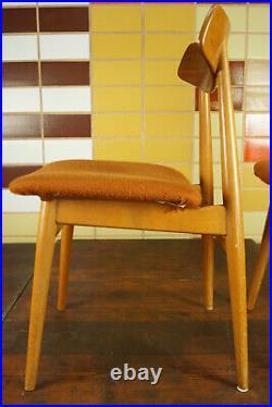 60er 4x Vintage Stühle Danish Retro Esszimmer Stuhl Buche Sessel Mid-Century