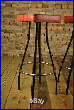 60er Vintage Hocker Barhocker Retro Kneipe Barstuhl Sitzhocker Mid-Century 1/2
