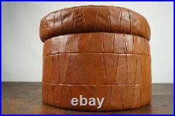 60er Vintage Hocker Retro Sitzhocker Pouf Fußhocker Leder Mid-Century