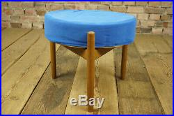 60er Vintage Hocker Retro Sitzhocker Pouf Fußhocker Nussbaum Mid-Century