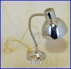 60s FRENCH CHROM DESK OR BEDSIDE LAMP retro vintage mid-century industrial