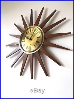 60s Vintage Retro Mid Century Anstey & Wilson teak starburst sunburst wall clock