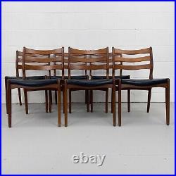 6x Mid-Century Teak Dining Chairs Danish Scandinavian Design, Vintage, Retro