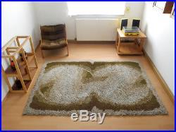 70's DESSO Rug Carpet brown green Vintage Mid-Century Retro Panton Era Rya