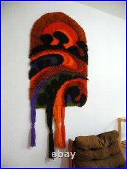 70's JUNGHANS wall hanging wool rug orange vintage Mid-Century Design Rya