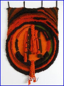 70's JUNGHANS wool pile wall hanging rug orange yellow vintage Mid Century Rya