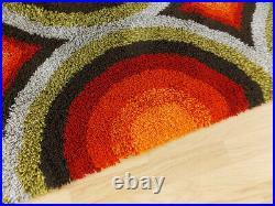 70's Psychedelic red orange yellow high pile wool Rug vintage Mid-Century Rya